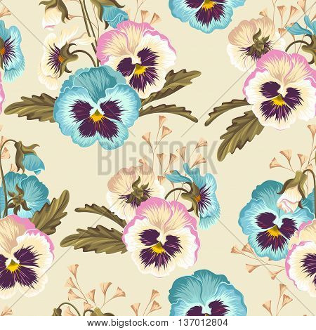 Vintage pansy with buds and leaves vector seamless background