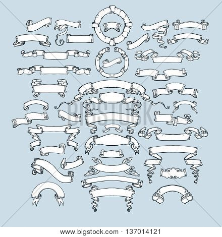 Vintage ribbon banners, hand drawn set. Collection of hand sketched elements. Vintage drawing in engraving style . Vector Illustration.