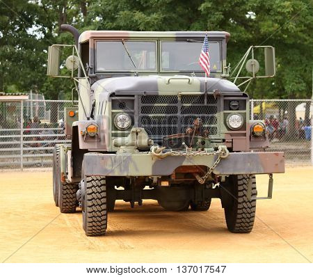 Buena Vista, New Jersey USA  July  2, 2016  An Army Tractor truck on display at a local event.