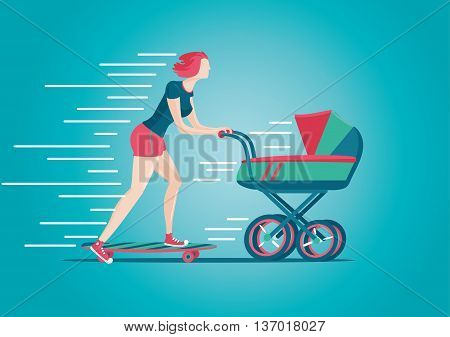 Mother walking with a pram. Active woman concept. Cartoon illustration