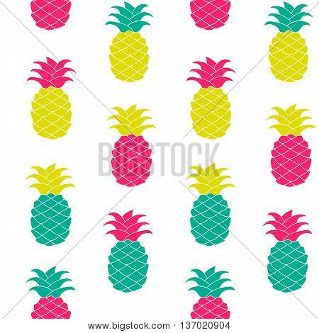 Seamless pineapple pattern Vector illustration. Hand drawn repeated for web, print, wallpaper, fashion fabric, textile design, background invitation card or holiday decor.