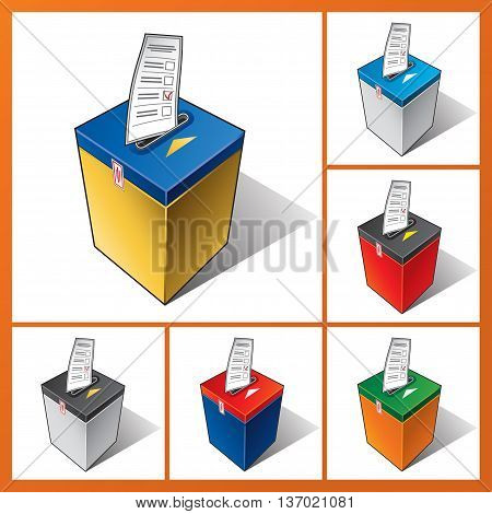 Falling ballot in the ballot box. The voter votes in elections