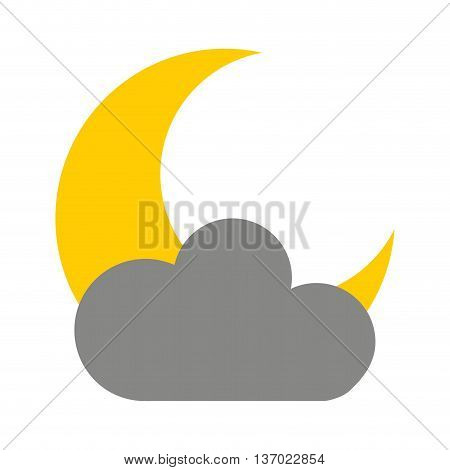 cloud with moon isolated icon design, vector illustration  graphic