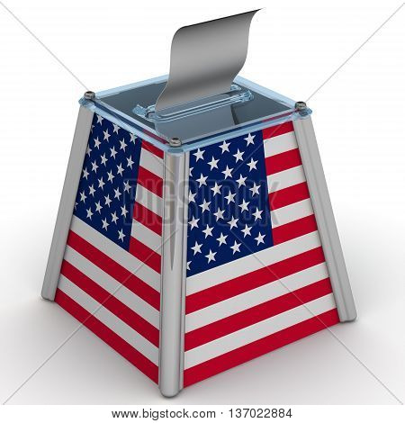 Ballot box to vote with the flag of the United States of America and ballot sheet is on the white surface. Isolated. 3D Illustration