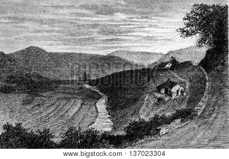 The Chairieres in Wallonia, Belgium. Drawing by Lancelot. From Magasin Pittoresque, vintage engraving, 1873.