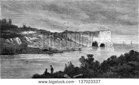 Two men talking on the river bank. From Magasin Pittoresque, vintage engraving, 1876.