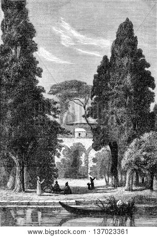 The Abandoned Gardens of Aschef. 1872 Painting at a Salon. Drawing by Alexander Bar. From Magasin Pittoresque, vintage engraving, 1873.