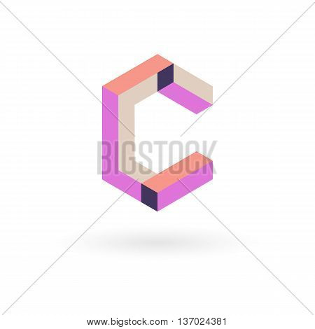 Vector illustration capital letter C isometric logo design.