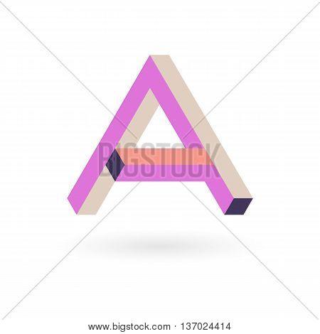 Vector illustration capital letter A isometric logo design.