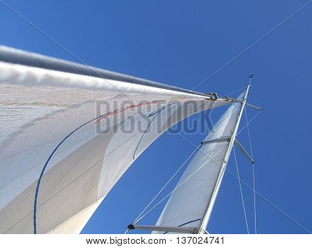 Sails, mast and rigging on a sailing yacht or sailboat, against a blue sky. Photographed in New Zealand.