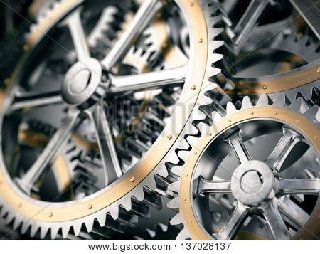 Gears cog wheels concept. 3d illustration