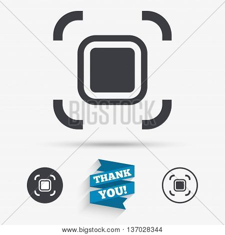 Autofocus zone sign icon. Photo camera settings. Flat icons. Buttons with icons. Thank you ribbon. Vector
