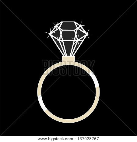 Gold ring with a diamond on a black background