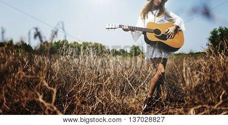 Woman Girl Playing Guitar Writing Song Music Concept