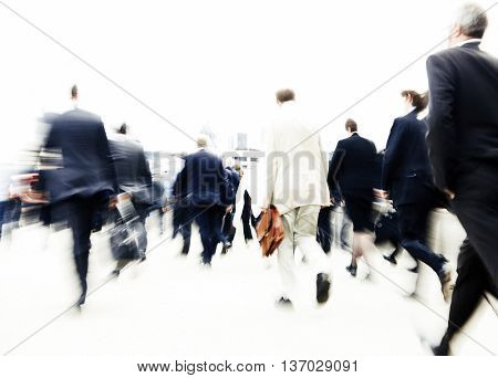 People Rushing to Work Commuters Concept
