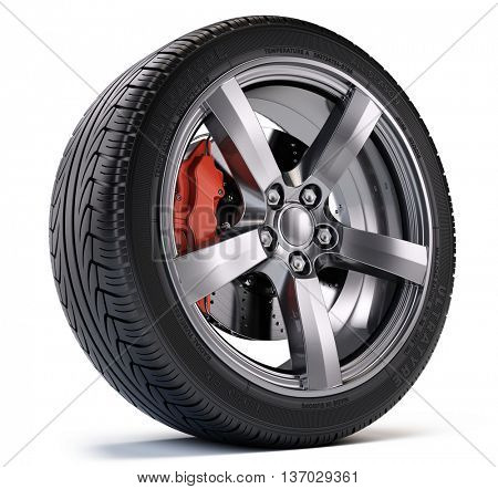 Car wheel with breke disc and caliper isolated on white. 3d illustration