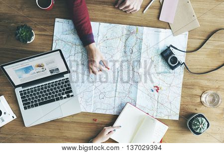Map Travel Trip Destination Direction Planning Concept