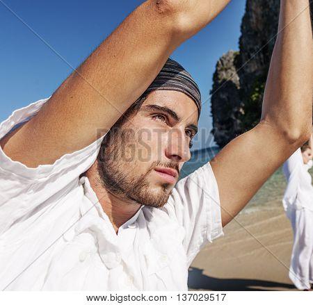 People Meditation Yoga Balance Beach Summer Concept