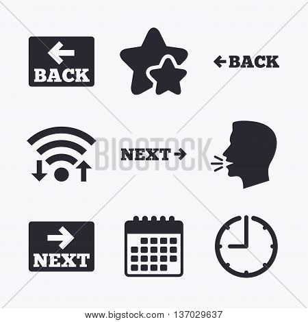 Back and next navigation signs. Arrow direction icons. Wifi internet, favorite stars, calendar and clock. Talking head. Vector
