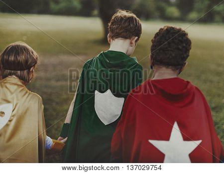 Superhero Kids Aspirations Fun Outdoors Concept