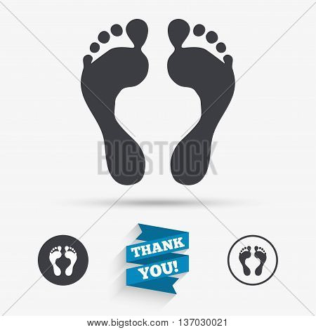 Human footprint sign icon. Barefoot symbol. Foot silhouette. Flat icons. Buttons with icons. Thank you ribbon. Vector