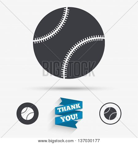 Baseball ball sign icon. Sport symbol. Flat icons. Buttons with icons. Thank you ribbon. Vector