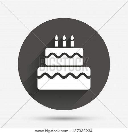 Birthday cake sign icon. Cake with burning candles symbol. Circle flat button with shadow. Vector