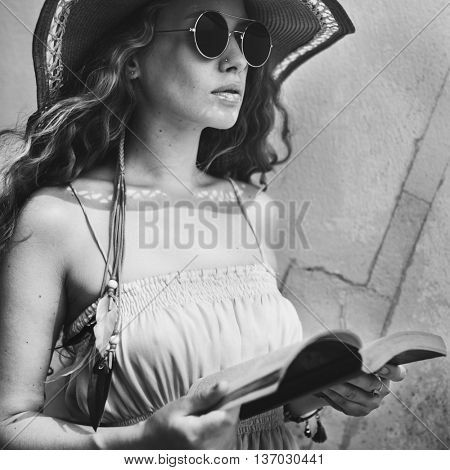 Female Sunglass Outdoors Reading Book Concept