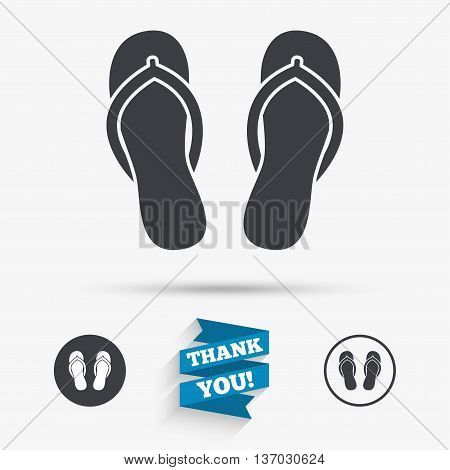Flip-flops sign icon. Beach shoes. Sand sandals. Flat icons. Buttons with icons. Thank you ribbon. Vector
