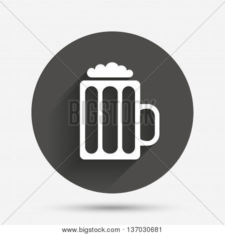 Glass of beer sign icon. Alcohol drink symbol. Circle flat button with shadow. Vector