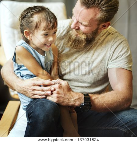 Daughter Kid Girl Leisure Father Generation Concept