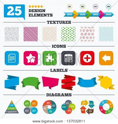 Offer sale tags, textures and charts. Plus add circle and puzzle piece icons. Document file and back arrow sign symbols. Sale price tags. Vector