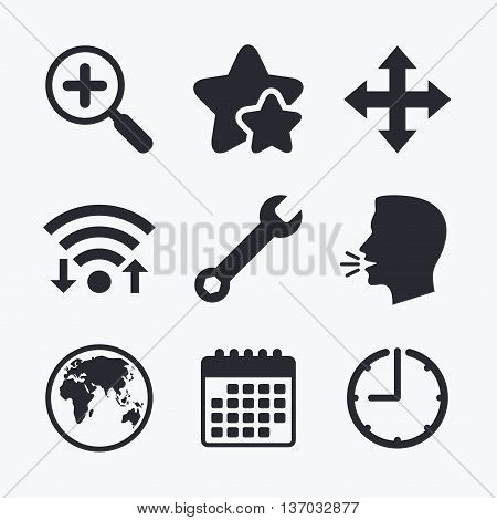 Magnifier glass and globe search icons. Fullscreen arrows and wrench key repair sign symbols. Wifi internet, favorite stars, calendar and clock. Talking head. Vector