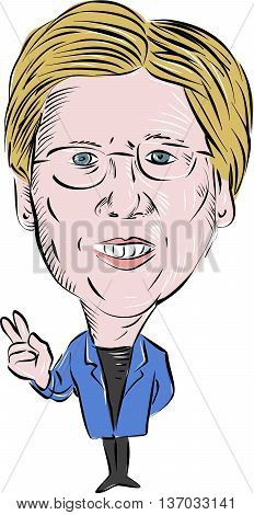 July 4, 2016: Caricature illustration of Elizabeth Ann Warren American Senator of the Democratic Party making a peace sign viewed from front on isolated white background done in cartoon style.