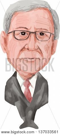 July 4: Water color caricature illustration of Jean-Claude Juncker a Luxembourgish politician and President of the European Commission the executive branch of the European Union (EU) viewed from front on isolated white background done in cartoon style.