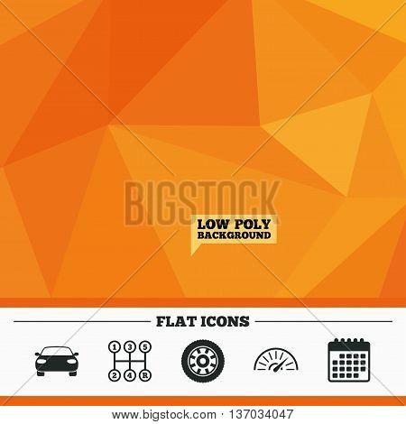 Triangular low poly orange background. Transport icons. Car tachometer and mechanic transmission symbols. Wheel sign. Calendar flat icon. Vector
