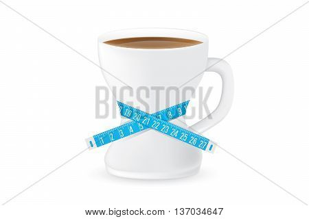 Coffee cup have a curve shape like a shapely body of woman. Coffee glass have measuring tape around. This illustration about slimming drink concept.