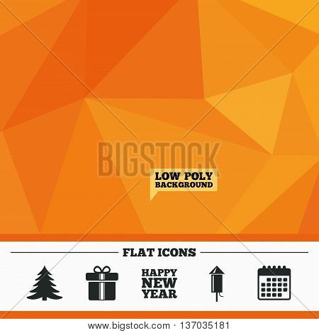 Triangular low poly orange background. Happy new year icon. Christmas tree and gift box signs. Fireworks rocket symbol. Calendar flat icon. Vector