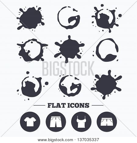 Paint, coffee or milk splash blots. Clothes icons. T-shirt and pants with shorts signs. Swimming trunks symbol. Smudges splashes drops. Vector