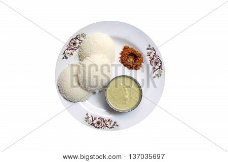 Indian idly or rice cake a common break fast dish