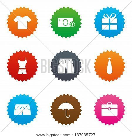 Clothing, accessories icons. T-shirt, business case signs. Umbrella and gift box symbols. Stars label button with flat icons. Vector