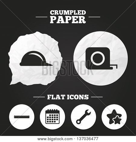 Crumpled paper speech bubble. Construction helmet and wrench key tool icons. Ruler and tape measure roulette sign symbols. Paper button. Vector