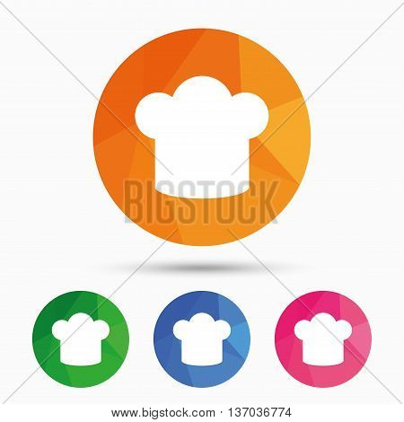 Chief hat sign icon. Cooking symbol. Cooks hat. Triangular low poly button with flat icon. Vector