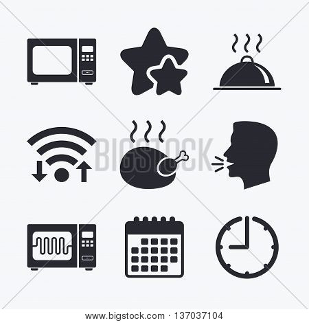 Microwave grill oven icons. Cooking chicken signs. Food platter serving symbol. Wifi internet, favorite stars, calendar and clock. Talking head. Vector