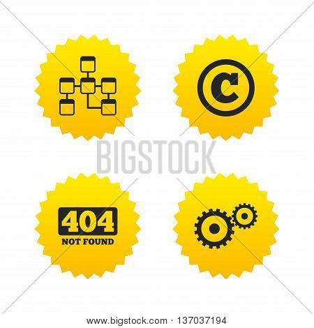 Website database icon. Copyrights and gear signs. 404 page not found symbol. Under construction. Yellow stars labels with flat icons. Vector