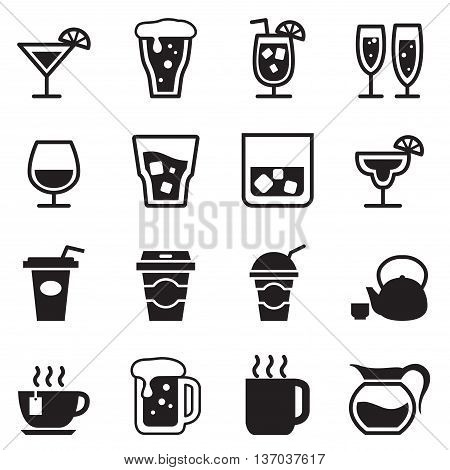 Drinking glass jug cup icons set Vector illustration