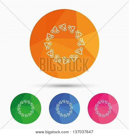 Jewelry sign icon. Diamonds circle symbol. Triangular low poly button with flat icon. Vector