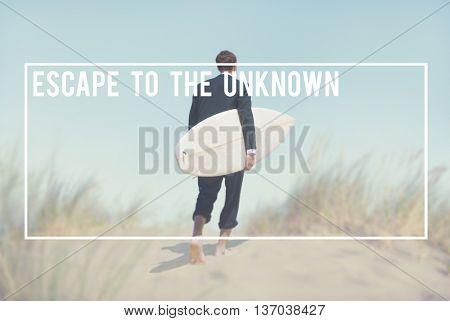 Businessman Surfboard Going Beach Concept