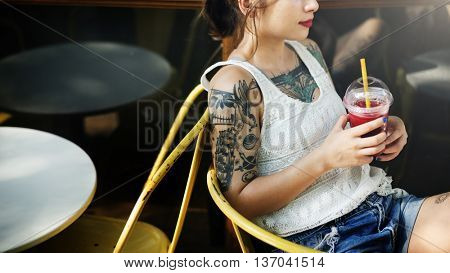 Tattoed Woman Chilling Cafe Concept
