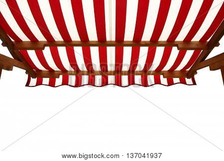 View from shade below red white striped awning poster